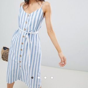 NWT Mango Button Front, Blue Striped Cami Dress M